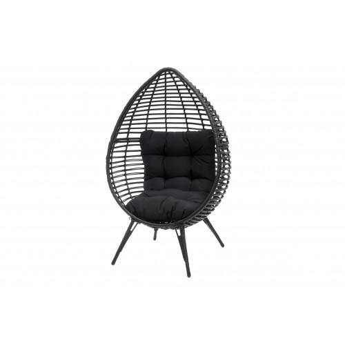4living - Garden Chair Rattan Egg Black